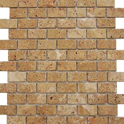 1'' x 2'' Travertine Mosaic Tile in Brown