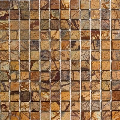 "1"" x 1"" Marble Mosaic Tile in Rain Forest Brown"