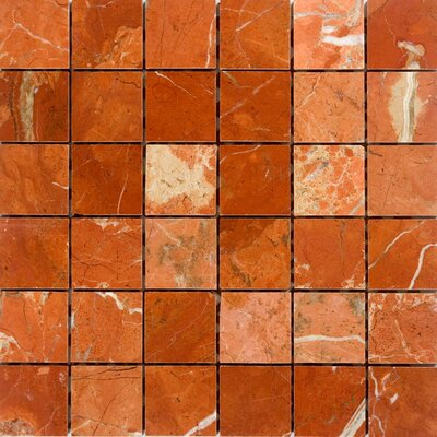 "2"" x 2"" Marble Mosaic Tile in Polished Red"