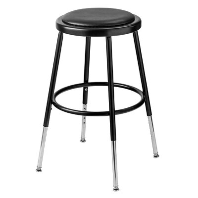 "Height Adjustable Stool with Footring Seat Height: 19"" - 27"", Finish: Black"