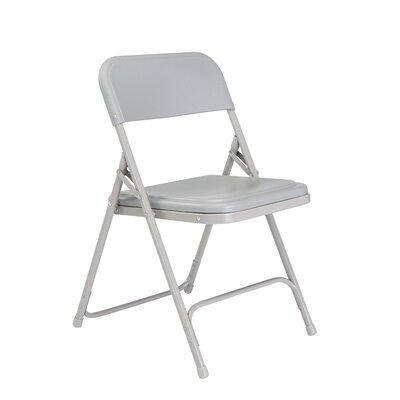 800 Series Lightweight Folding Chair (Set of 4) Color: Grey/Grey Frame