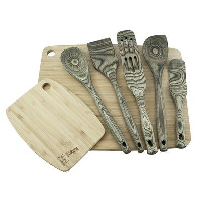 7 Piece Pakka Wood Utensil and Cutting Board Set