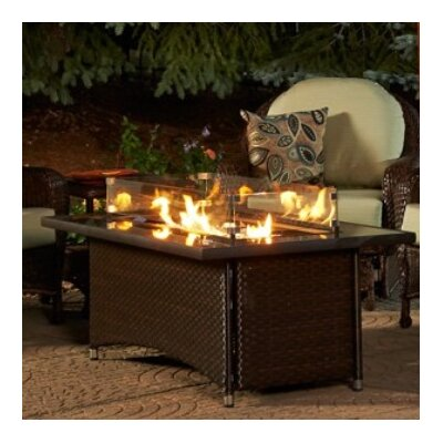Montego Crystal Wicker Fire Pit Table Color: Balsam
