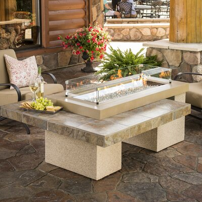 Uptown-K Crystal Concrete Fire Pit Table Color: Brown