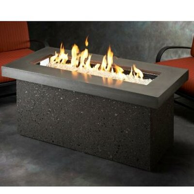 Key Largo Crystal Fire Pit Table with Base Color: Midnight Mist and Grey Tereneo