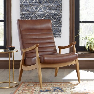 Hans Leather Armchair Body Fabric: Steamboat Charcoal, Leg Color: Black Walnut