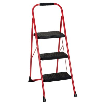 3-Step Steel Big Folding Step Stool with 200 lb. Load Capacity Color: Red