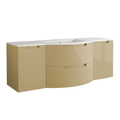 "Oasi 57"" Single Left, Right Side Vanities and Shelf Vanity Base Finish: Sand"