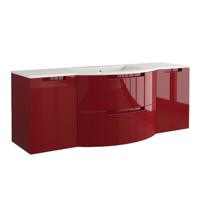 "Oasi 57"" Single Left, Right Side Vanities and Shelf Vanity Base Finish: Red"
