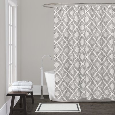 Breezewood Cotton Shower Curtain Color: Grey
