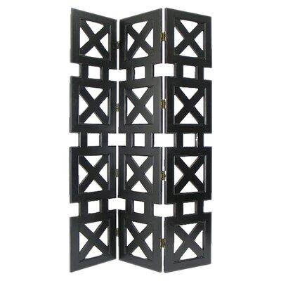 3 Panel Room Divider Color: Black