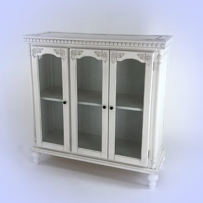 Carved Glass 3 Door Accent cabinet Color: White