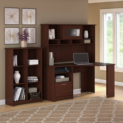 Hillsdale Corner Desk with Hutch and Bookcase Color: Harvest Cherry