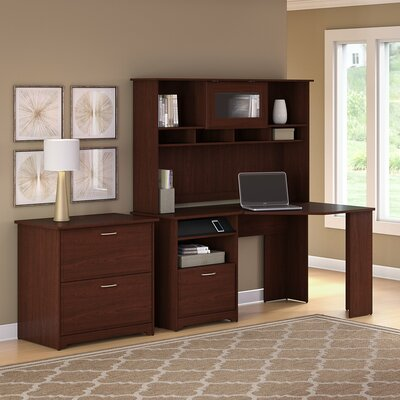 Hillsdale Corner Executive Desk with Hutch & Lateral File Color: Harvest Cherry