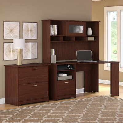 Hillsdale 3-Piece Corner Desk Office Suite Color: Harvest Cherry