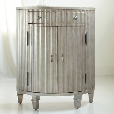 Melange Fluted Demilune 1 Drawer Accent Cabinet