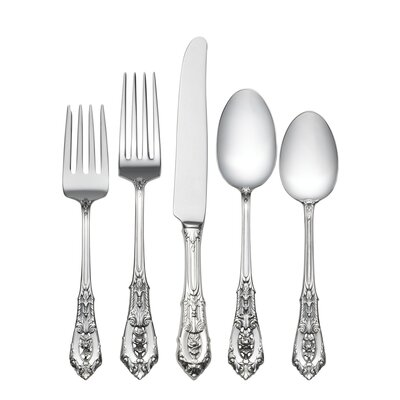 Wallace Sterling Silver Rose Point 5 Piece Dinner Flatware Set