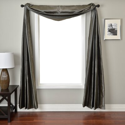Softline Home Fashions Ariel Circle Window Scarf in Chocolate / French Blue