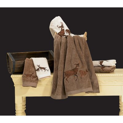 Lynnhaven Deer 3 Piece 100% Cotton Towel Set Color: Brown