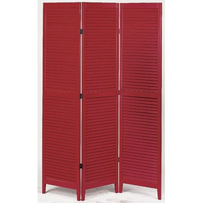 Shutter Accordion 3 Panel Room Divider Finish: Red
