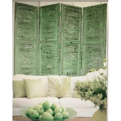 Nantucket 4 Panel Room Divider Seat Color: Green