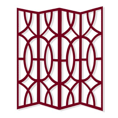 Zander 4 Panel Room Divider Color: Red