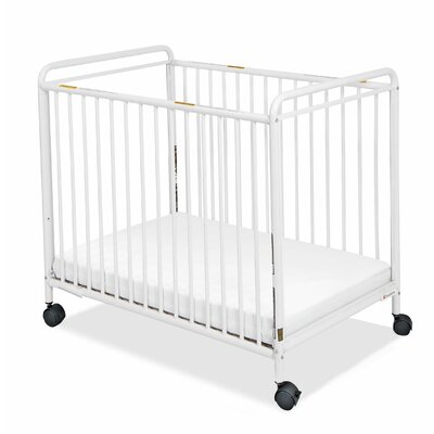Foundations Chelsea Clearview Compact Steel Non-Folding Convertible Crib with Mattress