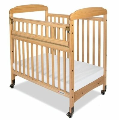 Foundations Serenity Safereach Fixed Side Mirror End Compact Convertible Crib with Mattress