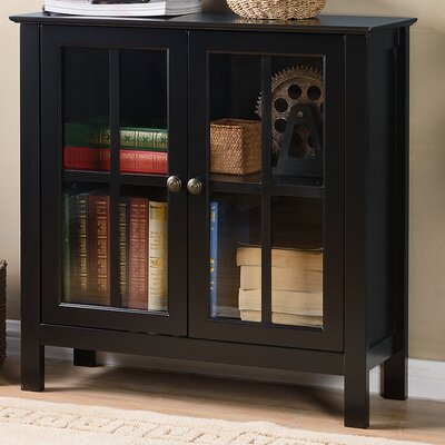 Glass 2 Door Accent Cabinet Color: Black