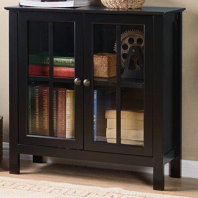 Glass 2 Door Accent Cabinet Color: Black