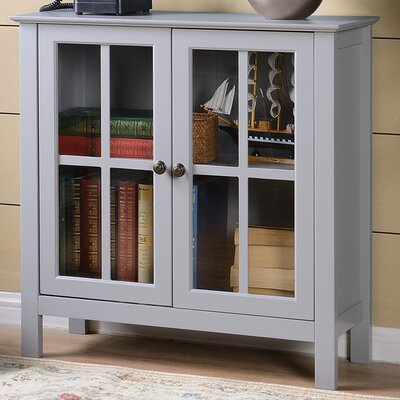 Glass 2 Door Accent Cabinet Color: Gray