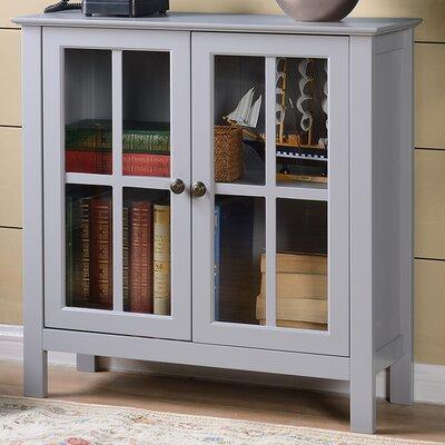 Glass 2 Door Accent Cabinet Color: Gray