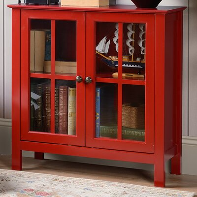 Glass 2 Door Accent Cabinet Color: Red