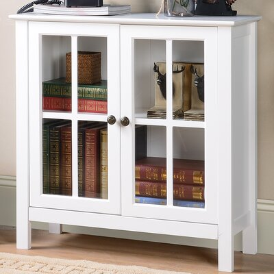 Glass 2 Door Accent Cabinet Color: White