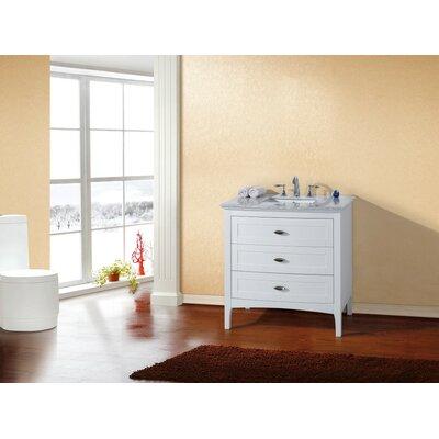 """35"""" Single Bathroom Vanity Base Base Finish: White"""