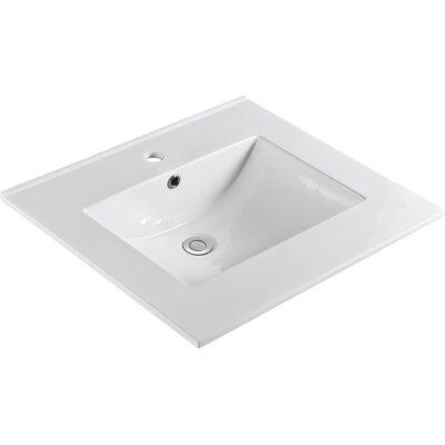 "Ceramic 25"" Single Bathroom Vanity Top Faucet Mount: Single"