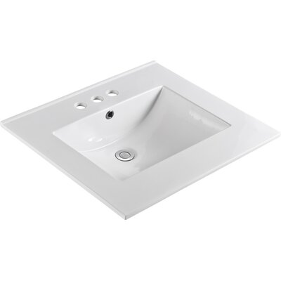 "Ceramic 25"" Single Bathroom Vanity Top Faucet Mount: 8"" Centers"