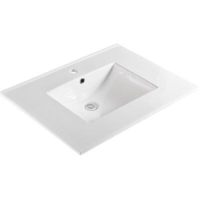 "Ceramic 31"" Single Bathroom Vanity Top Faucet Mount: Single"