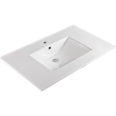 "Ceramic 37"" Single Bathroom Vanity Top Faucet Mount: Single"
