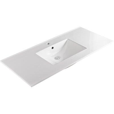 "Ceramic 49"" Single Bathroom Vanity Top Faucet Mount: Single"