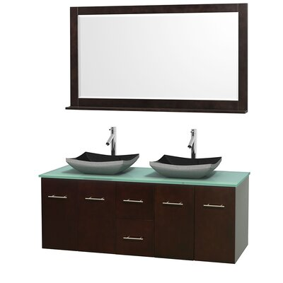 """Centra 60"""" Double Espresso Bathroom Vanity Set with Mirror Sink Finish: Avalon White Carrera Marble, Top Finish: White Man-Made Stone"""