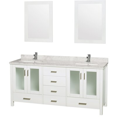 "Lucy 72"" Double Bathroom Vanity Set with Mirrors Top Finish: White Carrera Marble"