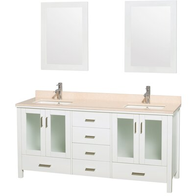 "Lucy 72"" Double Bathroom Vanity Set with Mirrors Top Finish: Ivory Marble"