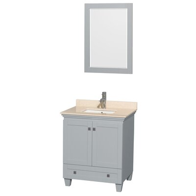 "Acclaim 30"" Single Bathroom Vanity Set with Mirror Top Finish: Ivory Marble"