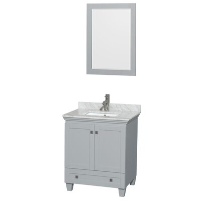 "Acclaim 30"" Single Bathroom Vanity Set with Mirror Top Finish: White Carrera Marble"