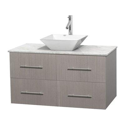 "Centra 42"" Single Bathroom Vanity Set Sink Finish: White Porcelain, Base Finish: Gray Oak, Top Finish: White Carrera"