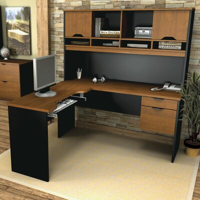 Innova 4 Piece L-Shape Desk Office Suite Color: Tuscany Brown & Black