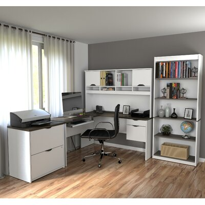 Innova 4 Piece L-Shape Desk Office Suite Color: White & Antigua