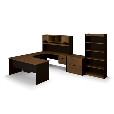 Innova U-Shape Desk Office Suite Color: Tuscany Brown & Black