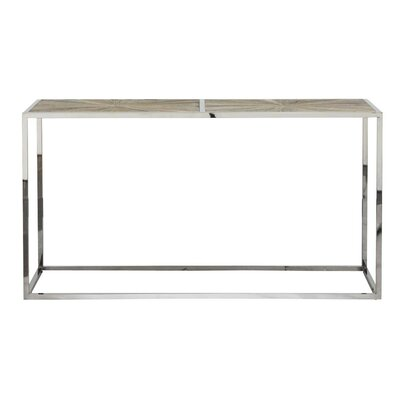"Paulsen Parquet Console Table Size: 33.5"" H x 63"" W x 19.5"" D, Table Top Color: Smoke gray, Table Base Color: Stainless steel"